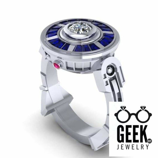 Geek Dot Jewelry Ring The Original R2 Droid LTE- 14K White Gold Ring, Sapphire and Ruby Engagement Ring