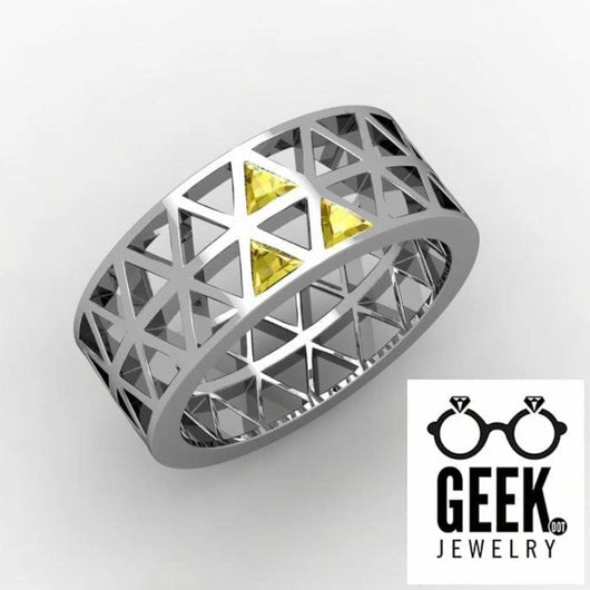 Geek Dot Jewelry Ring Tri Force The Guys! Pierced -GENTS