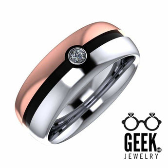 Geek Dot Jewelry Ring Two Tone Poke Ball Band  -Ladies