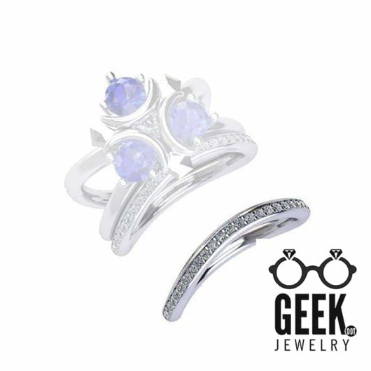 Geek Dot Jewelry Ring Zora's Sapphire Matching Band- Ladies