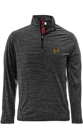 Men's Chicago Blackhawks Charcoal 1/4 Zip Armour Shear Text Pullover Jacket, Charcoal-Level Wear