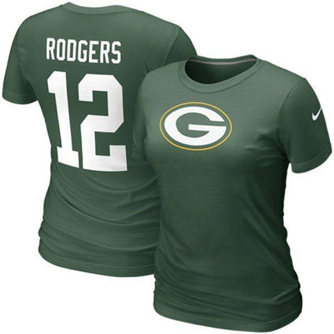 Women's Green Bay Packers Aaron Rodgers #12 Women's Replica Name & Number T-Shirt - Green