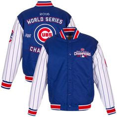 Chicago Cubs 2016 World Series Champions Poly-Twill Pinstripe Jacket By JH Design