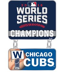 "Chicago Cubs 2016 World Series Champions 1.375"" x 1.125"" Dangler Pin"
