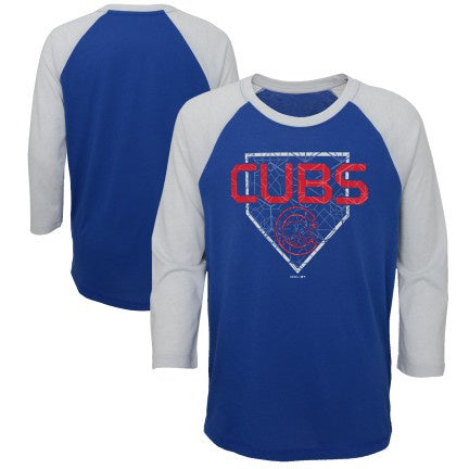 Youth Chicago Cubs Score 3/4 Sleeve Raglan Ultra Tee