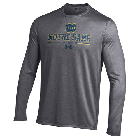 Under Armour Men's Notre Dame Fighting Irish Grey On Field Football Tech Performance Long Sleeve T-Shirt