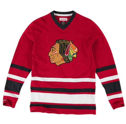 Men's NHL Chicago Blackhawks Mitchell & Ness Red 1st Period Long Sleeve T-Shirt