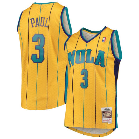 Men's New Orleans Hornets Chris Paul Mitchell & Ness Yellow Hardwood Classics Swingman Jersey