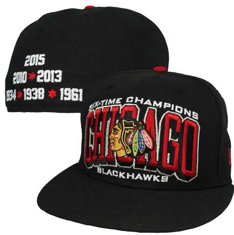 Chicago Blackhawks Stanley Cup Six Time Stanley Cup Champions Arched 59Fifty Fitted Hat