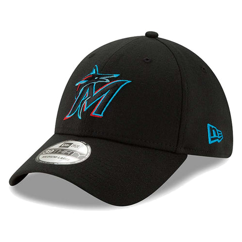 Men's Miami Marlins New Era Black 2019 Team Classic 39THIRTY Flex Hat