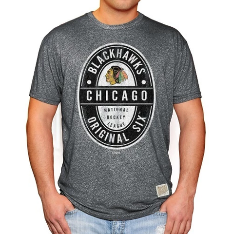 Men's Chicago Blackhawks Gray Original 6 Short Sleeve Tee
