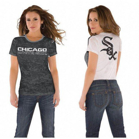 Women's Chicago White Sox Burnout 2Tone 2 Logo Tee