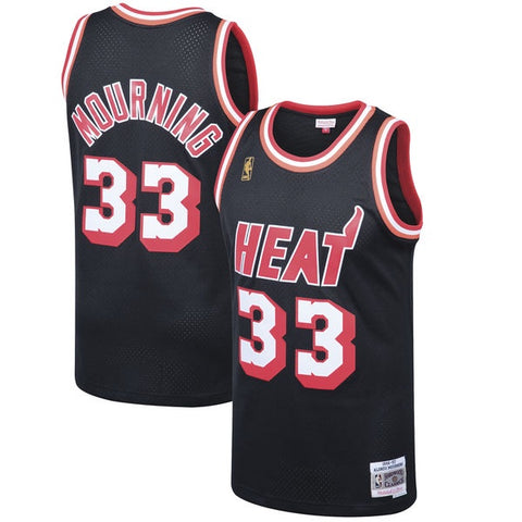 Men's Miami Heat Alonzo Mourning Mitchell & Ness Black 1996-97 Hardwood Classics Swingman Jersey
