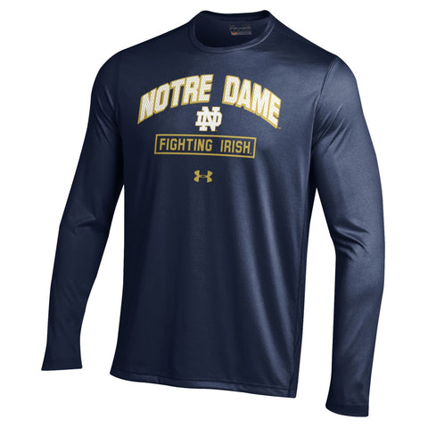 Men's NCAA Notre Dame Fighting Irish Heatgear Navy Long Sleeve Tech Tee