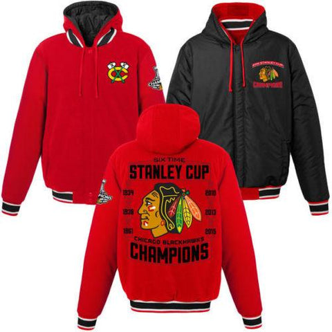 Mens Chicago Blackhawks 2015 Stanley Cup Champions Hooded Reversible Jacket