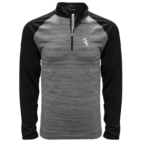 Men's Chicago White Sox Beam Vandal 1/4 Zip Heather Grey/Black Level Wear Track Jacket