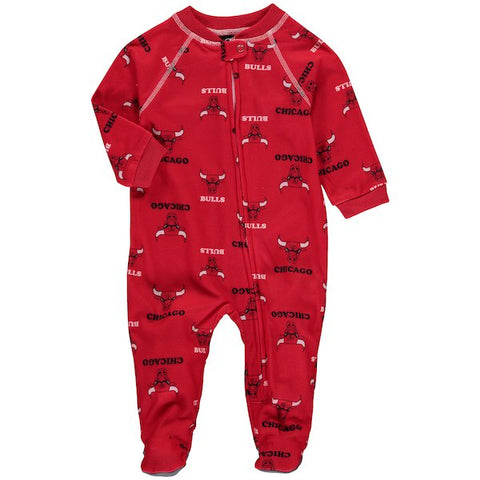 Newborn/Infant Girls Chicago Bulls Raglan Zip Up Coverall