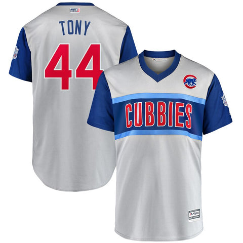 "Men's Chicago Cubs Anthony Rizzo ""Tony"" Majestic Gray 2019 MLB Little League Classic Replica Player Jersey"