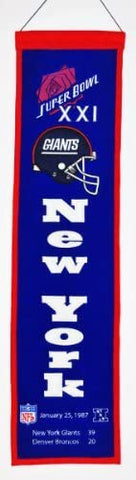 NFL New York Giants Super Bowl XXI Banner by Winning Streak