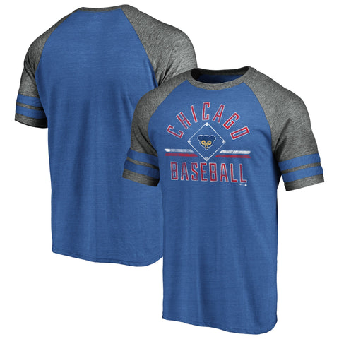 Men's Chicago Cubs Fanatics Branded Heathered Royal/Gray True Classics Diamond Legacy Tri-Blend Raglan T-Shirt