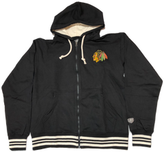 Chicago Blackhawks Adult Axton Full Zip Fleece Hoody By Old Time Hockey