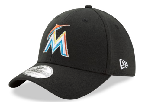 Mens Miami Marlins MLB Black Team Classic 39THIRTY Flex Fit Hat By New Era