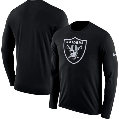Men's Las Vegas Raiders Nike Black Fan Gear Primary Logo Long Sleeve Performance T-Shirt