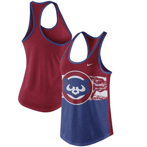 Women's Nike Chicago Cubs Cooperstown Collection Tri-Blend Racerback Performance Tank Top