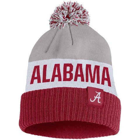 Alabama Crimson Tide Nike Team Name Cuffed Knit Hat with Pom - Gray