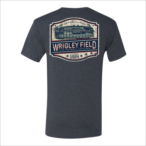 Men's Wrigley Field Heather Navy Tee