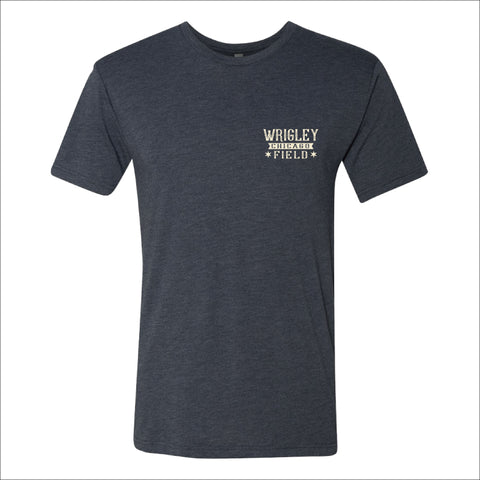 Men's Wrigley Field Roped In Heather Navy Aerial Shot Tee