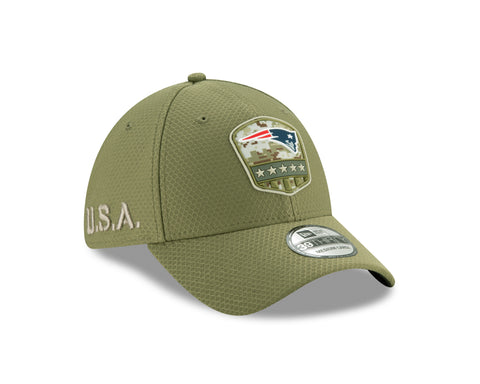 New England Patriots 2019 Salute To Service Green New Era 39THIRTY Flex Fit Hat