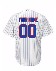 Custom Chicago Cubs Men's Home Pinstripe Replica Cool Base Jersey