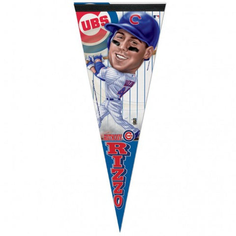 "Chicago Cubs Premium Caricature Pennant 12"" x 30"" Anthony Rizzo - Pro Jersey Sports"