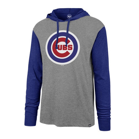 '47 Brand Men's Chicago Cubs Slate Gray Imprint Callback Club Hooded Long Sleeve Tee