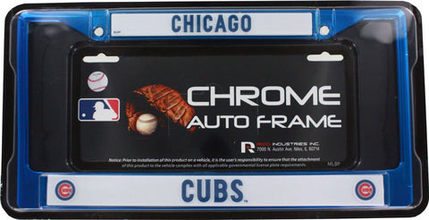 Chicago Cubs Blue Color Chrome License Plate Frame - Pro Jersey Sports