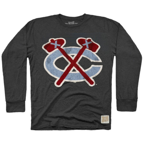 Men's Chicago Blackhawks Heather Black Chicago Flag Tomahawk Long Sleeve Tee