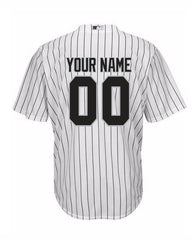 Custom Chicago White Sox Youth Home Pinstripe Replica Cool Base Jersey