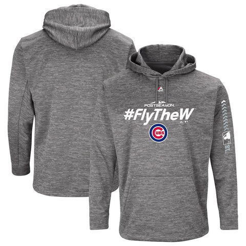 Men's Chicago Cubs Majestic Gray 2018 Postseason Authentic Collection Streak Fleece Pullover Hoodie