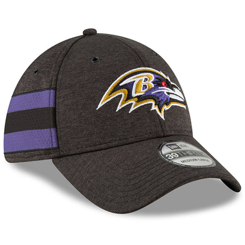 Men's Baltimore Ravens New Era Black NFL18 Sideline Home Official 39THIRTY Flex Hat