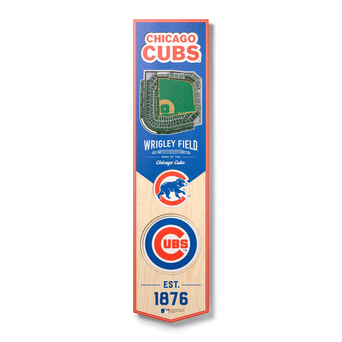 Chicago Cubs 8'' x 32'' 3D StadiumView Banner