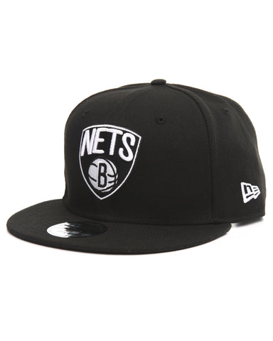 Mens New Era Brooklyn Nets 9Fifty Basic Black Snapback Hat