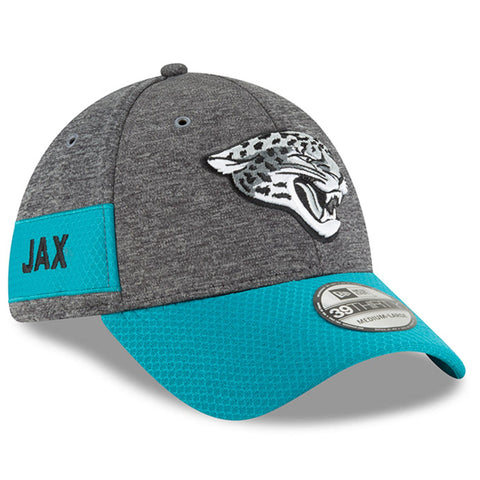 Men's Jacksonville Jaguars New Era Heather Gray/Teal 2018 NFL Sideline Home Graphite 39THIRTY Flex Hat