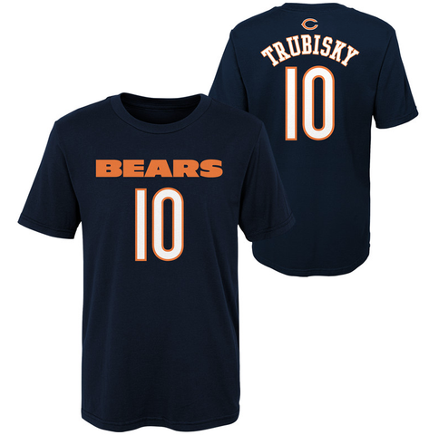 Toddler Chicago Bears Mitchell Trubisky Navy Mainliner Name & Number T-Shirt