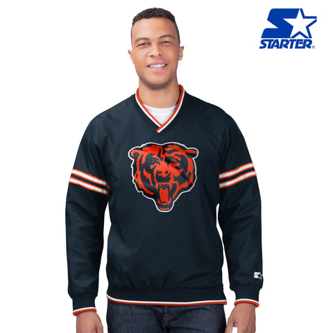 Men's Chicago Bears Navy First Class Starter Pullover Jacket