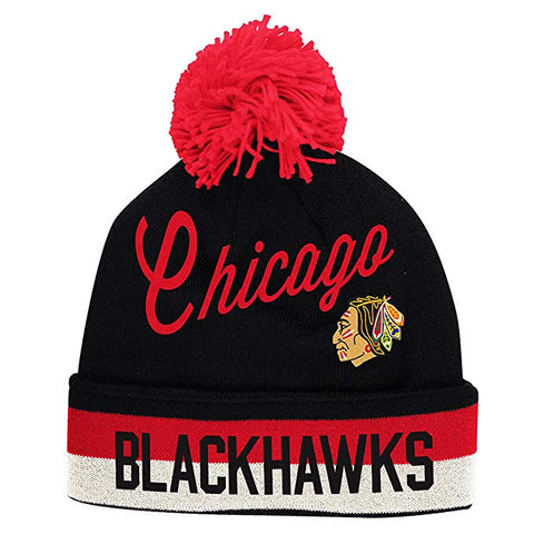 Chicago Blackhawks CCM Throwback NHL Cuffed Pom Knit Beanie Hat