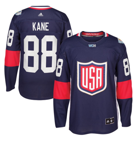 Men's USA Hockey Patrick Kane Adidas Navy 2016 World Cup of Hockey Premier Player Jersey