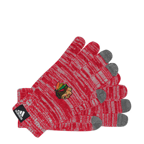 Womens Chicago Blackhawks Authentic Collection Text Gloves By Adidas