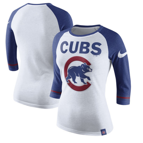 Women's Chicago Cubs Nike White Tri-Blend 3/4-Sleeve Raglan T-Shirt