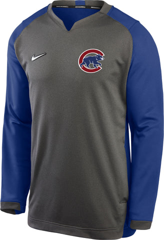Men's Chicago Cubs Nike Gray/Royal Authentic Collection Therma Dri-Fit Pullover